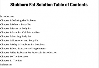 Stubborn Fat Solution by Lyle McDonald Table of Contents