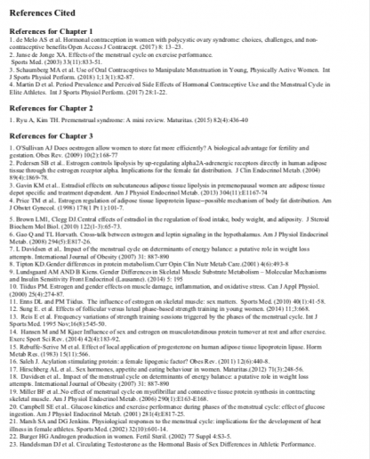 Sample Reference List from Birth Control and Athletic Performance