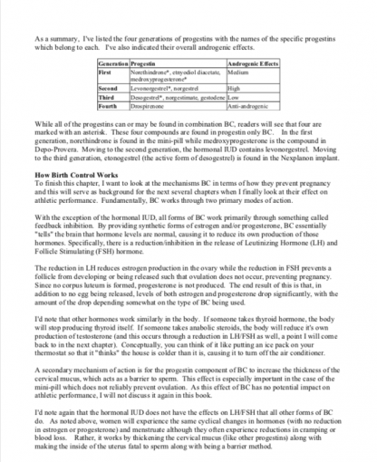 Birth Control and Athletic Performance Sample Page