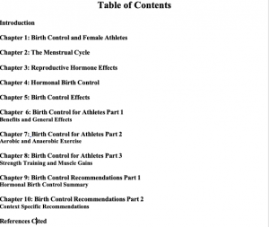 Birth Control and Athletic Performance Table of Contents