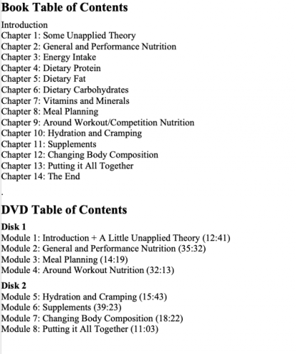 Applied Nutrition for Mixed Sports by Lyle McDonald Table of Contents